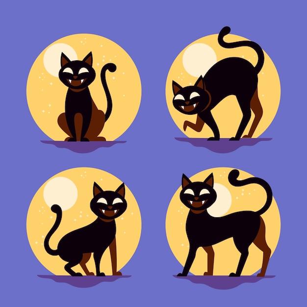 Collezione di gatti di halloween design piatto Vettore gratuito