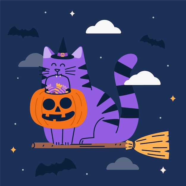 フラットデザインのハロウィン猫 無料ベクター