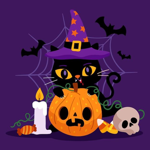 Flat design halloween cat Free Vector