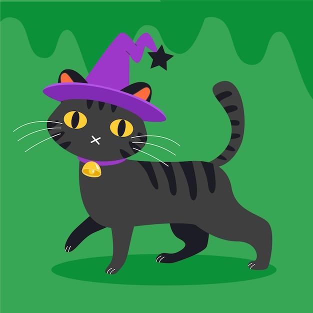 Gatto di halloween design piatto Vettore gratuito