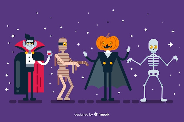 Flat design of halloween character collection Free Vector
