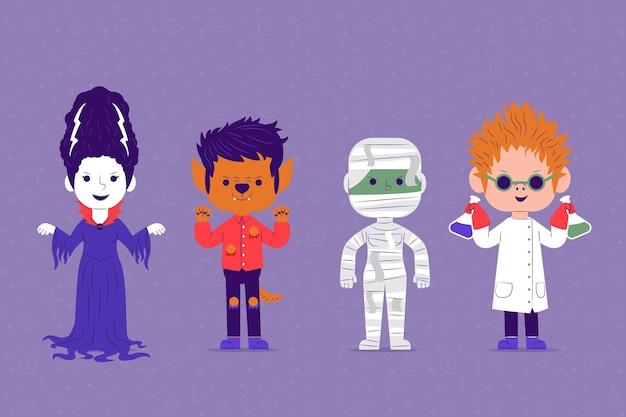 Плоский дизайн коллекции персонажей хэллоуина Бесплатные векторы
