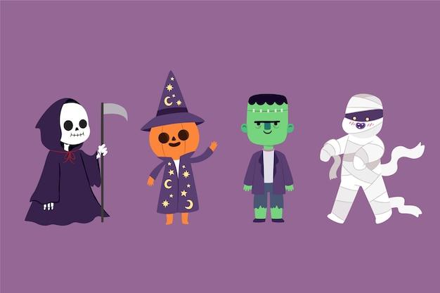 Плоский дизайн коллекции персонажей хэллоуина Premium векторы