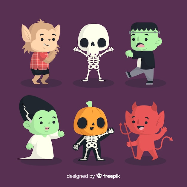 Flat design halloween character collection Free Vector