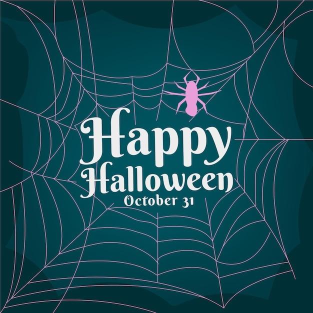 Carta da parati di ragnatela di halloween design piatto Vettore gratuito