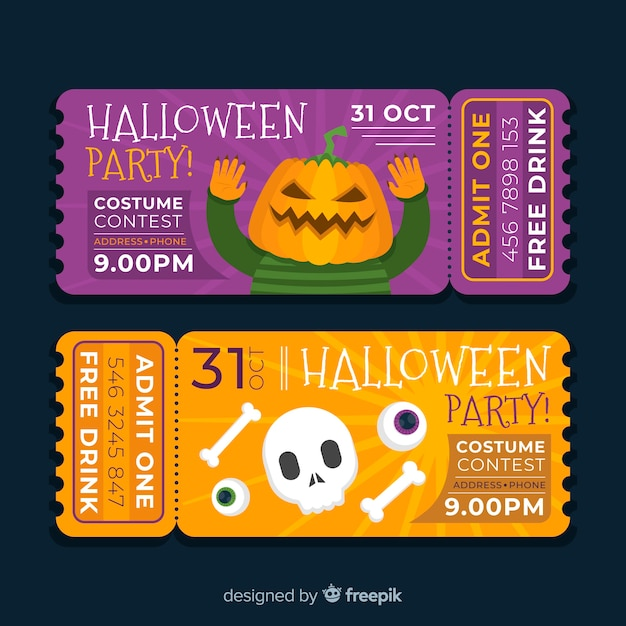 Flat design of halloween costume contest tickets Free Vector