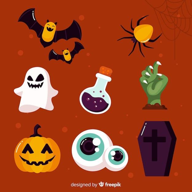 Flat design halloween element collection Free Vector