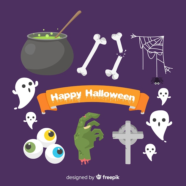 Flat design halloween element collection Free Vector