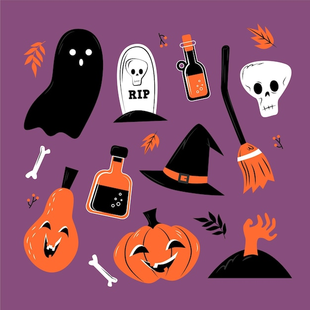 Insieme di elementi di halloween design piatto Vettore gratuito