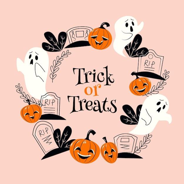 Cornice di halloween design piatto con fantasmi Vettore gratuito