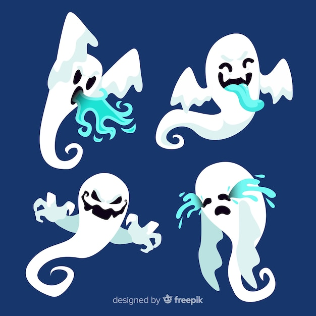 Flat design of halloween ghost collection Free Vector