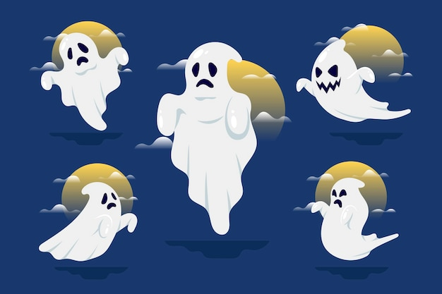 Flat design halloween ghost collection Free Vector