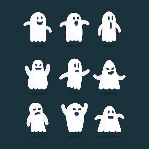 Collezione di fantasmi di halloween design piatto Vettore gratuito