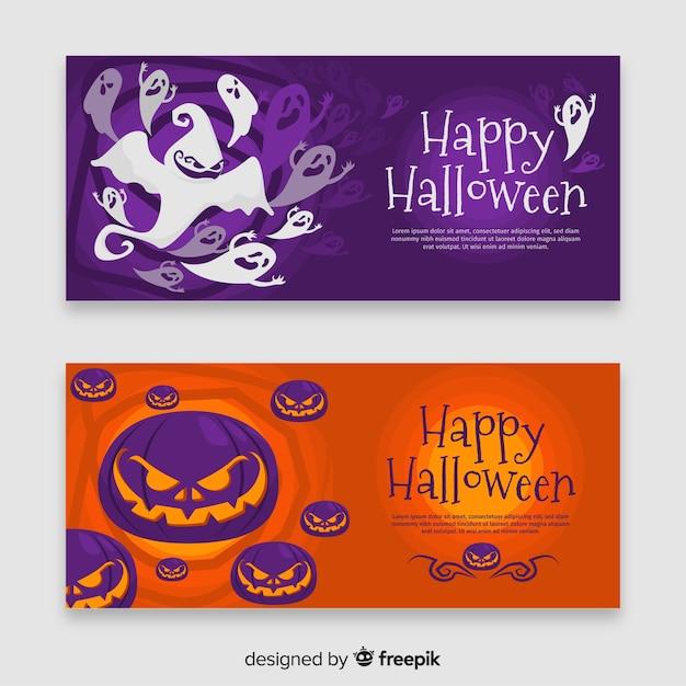 Flat design of halloween ghost and pumpkin banner Free Vector