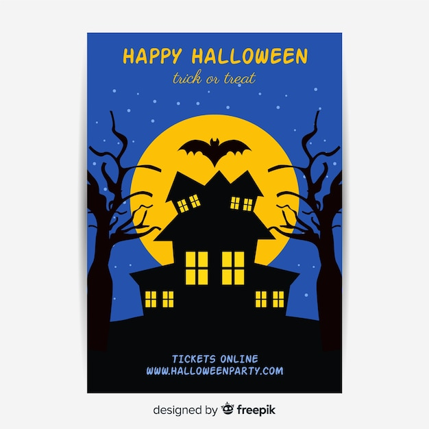 Flat design of halloween haunted house party poster template Free Vector