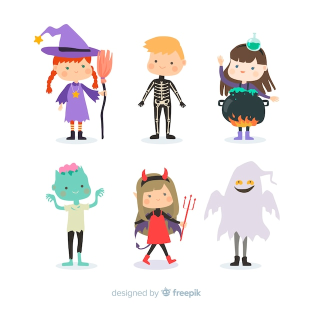 Flat design halloween kid collection Free Vector