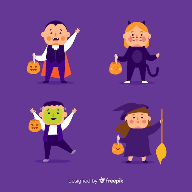 Flat design of halloween kid collection Free Vector