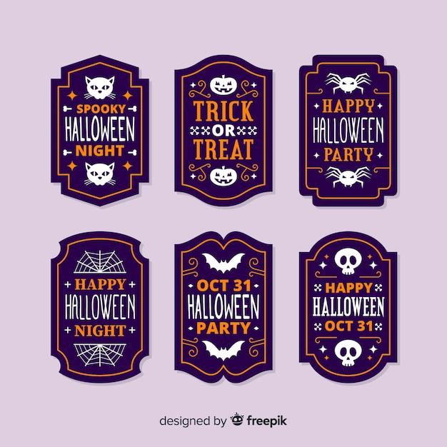 Flat design halloween label collection Free Vector