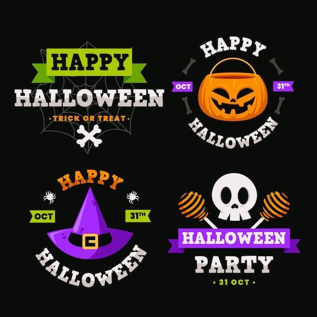 Плоский дизайн хэллоуин этикетки Бесплатные векторы