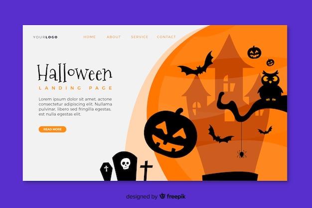 Flat design halloween landing page template Free Vector