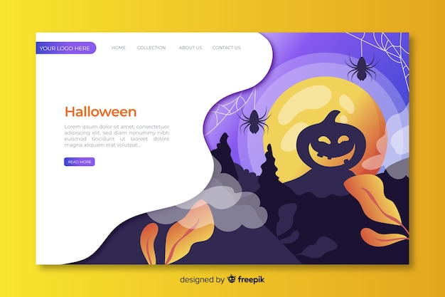 Flat design halloween landing page template Free Vector