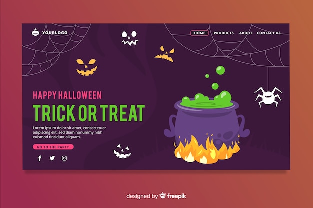 Flat design halloween landing page Free Vector