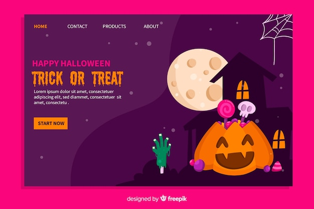 Flat design of halloween landing page Free Vector