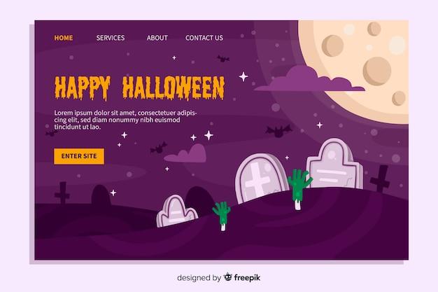Flat design of halloween landing page Free Vector