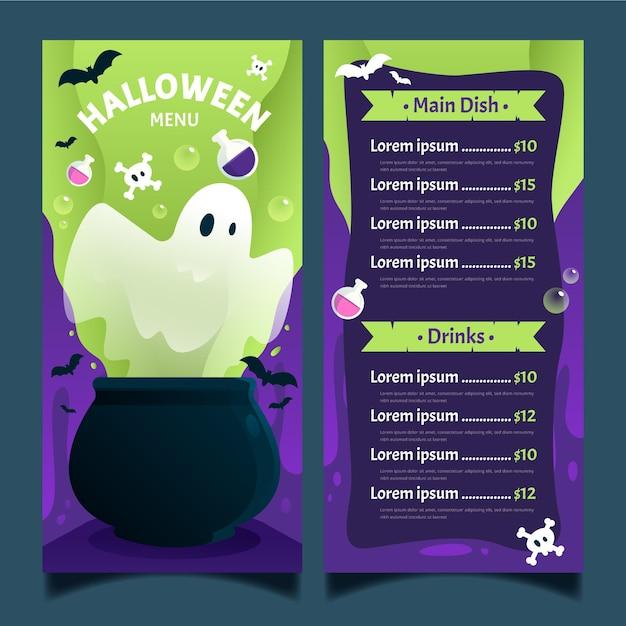 Modello di menu di halloween design piatto Vettore gratuito