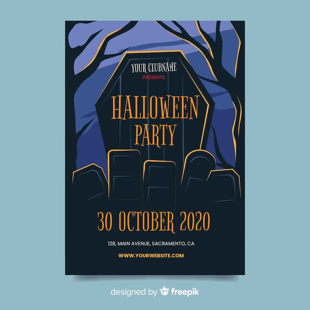 Flat design of halloween party flyer template Free Vector