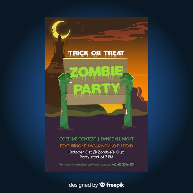 Flat design halloween party poster template Free Vector