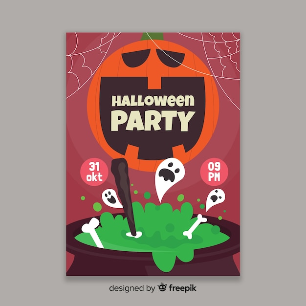 Flat design of a halloween party poster template Free Vector
