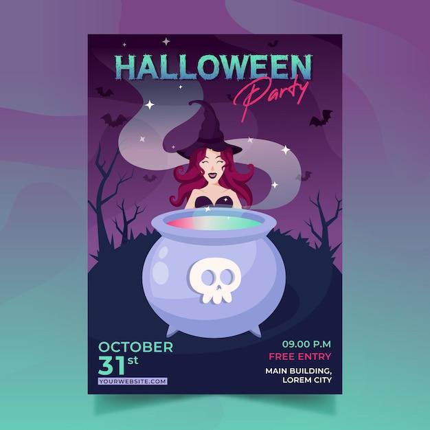 Modello di manifesto festa di halloween design piatto Vettore gratuito