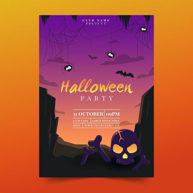 Плоский дизайн шаблона плаката хэллоуина Premium векторы