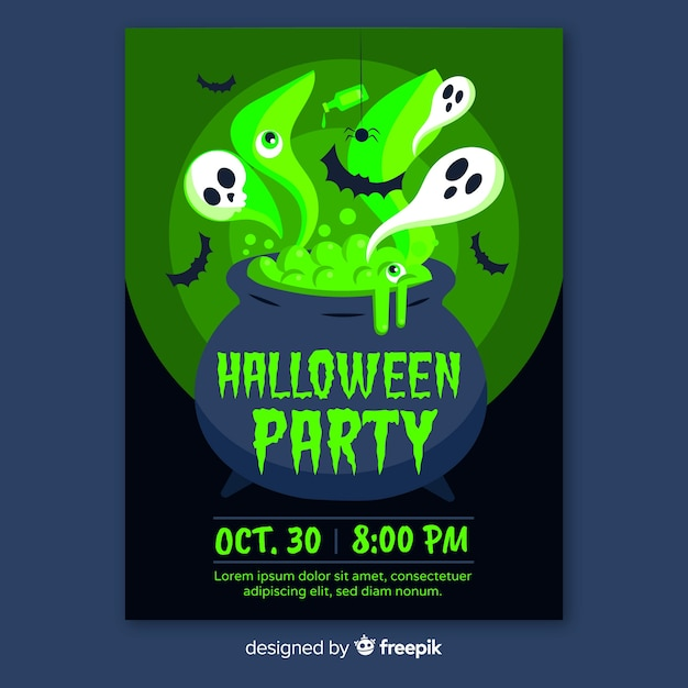 Halloween Poster Background Free.Flat Design Halloween Party Poster Templates Vector Free