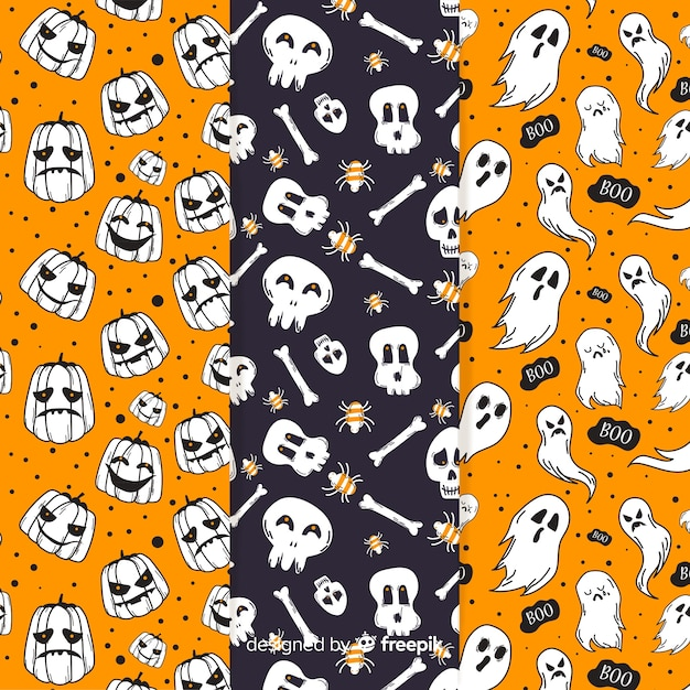 Flat design halloween pattern collection Free Vector