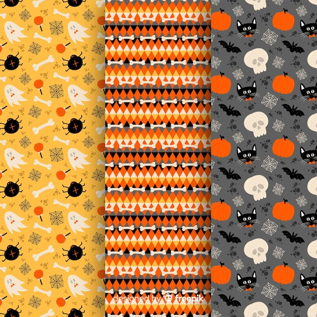 Flat design of halloween pattern collection Free Vector