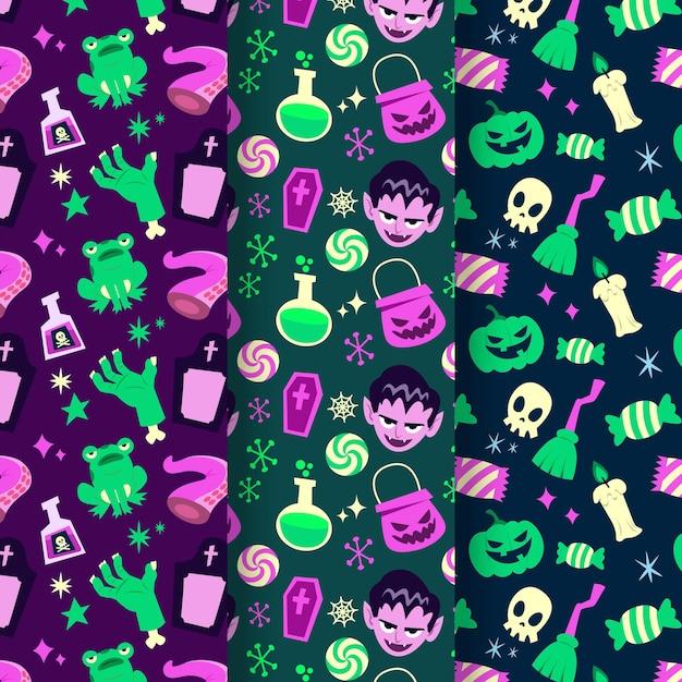 Collezione di pattern di halloween design piatto Vettore gratuito