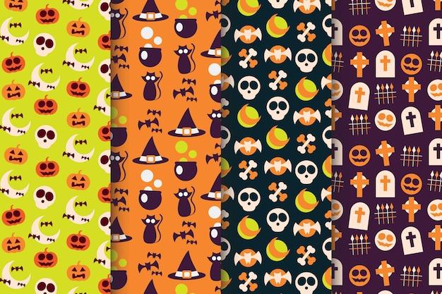 평면 디자인 할로윈 패턴 컬렉션 무료 벡터