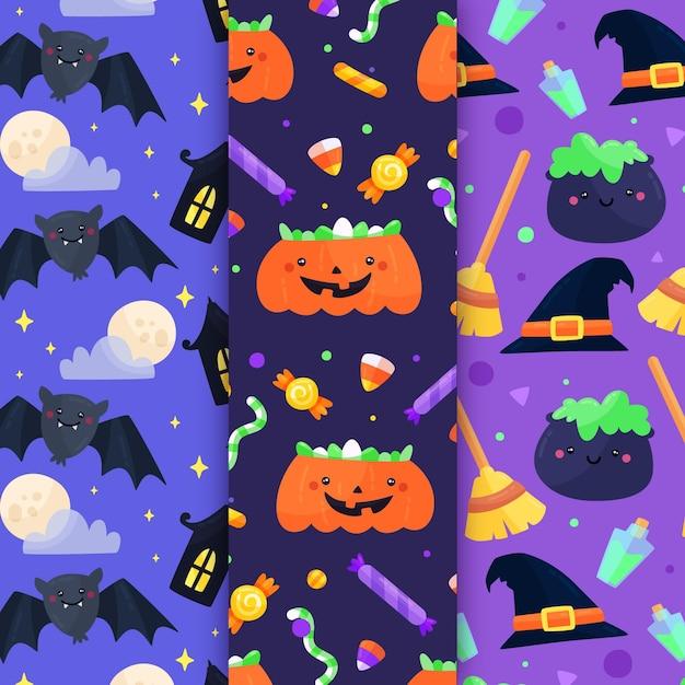Collezione di modelli di halloween design piatto Vettore gratuito