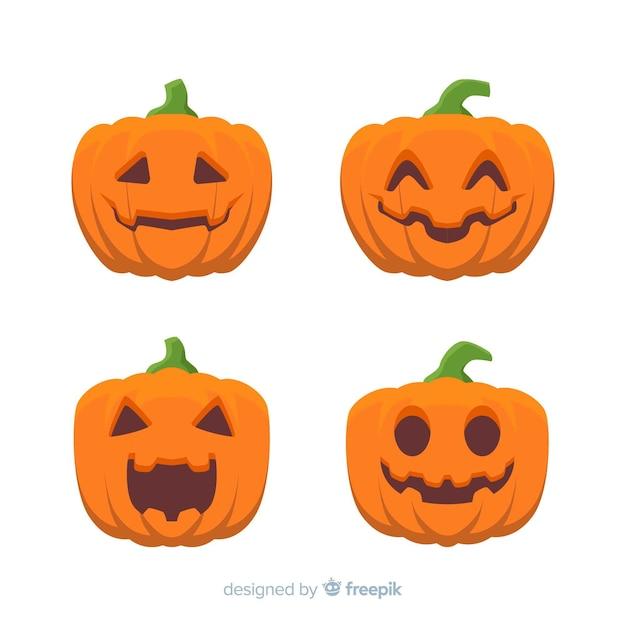 Flat design of halloween pumpkin collection Free Vector