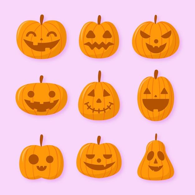 Плоский дизайн коллекции тыкв хэллоуин Бесплатные векторы