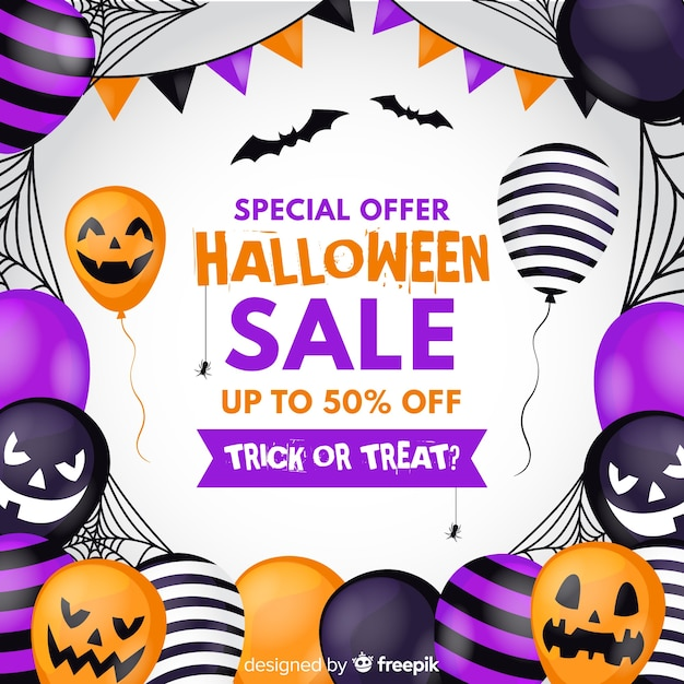 Flat design halloween sale background with balloons Free Vector