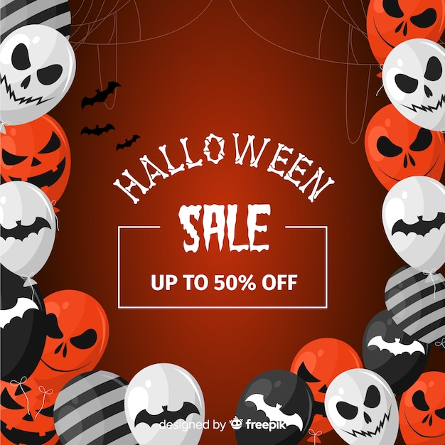 Flat design of halloween sale background with balloons Free Vector
