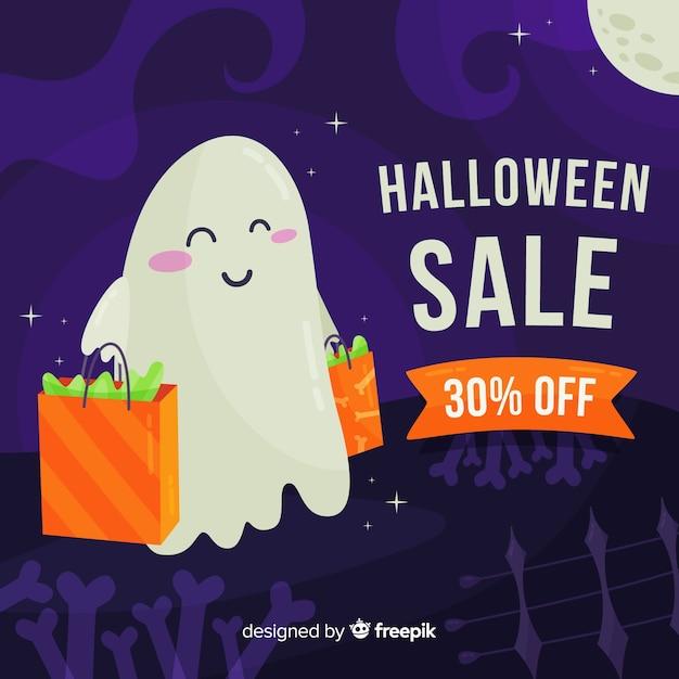 Flat design halloween sale background Free Vector