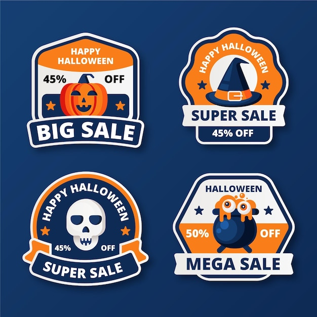 Flat design halloween sale badge collection Free Vector