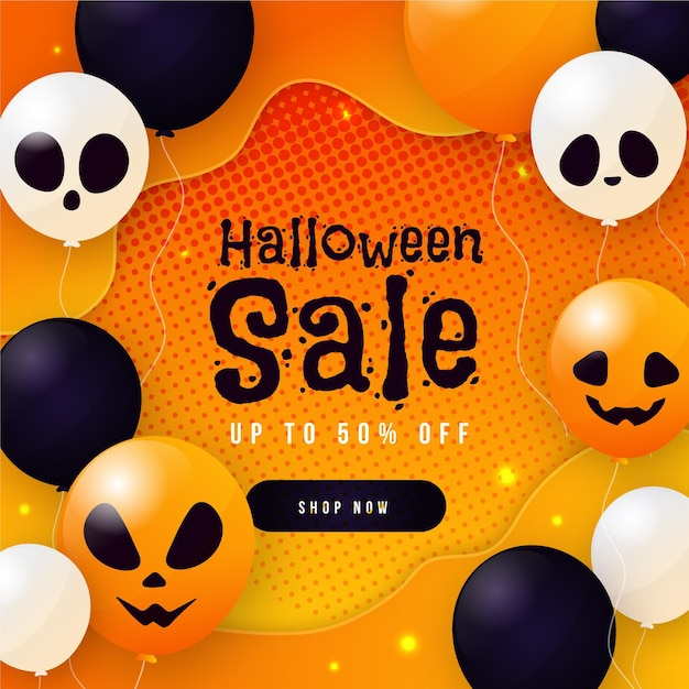 Flat design halloween sale banner with balloons Premium Vector