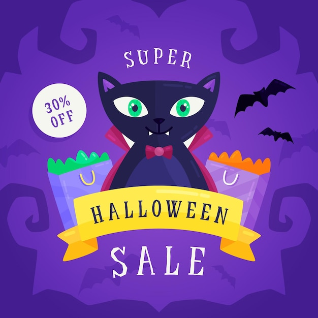 Flat design halloween sale banner with cat Free Vector