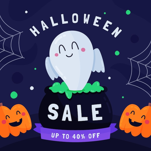 Flat design halloween sale banner with ghost Free Vector