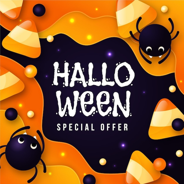 Flat design halloween sale banner with spiders Premium Vector